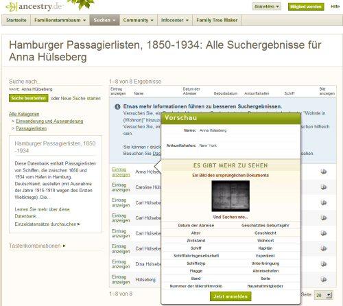 Abb.: Beispielhafte Suchergebnisse und Vorschau auf Auswanderer in den Hamburger Passagierlisten