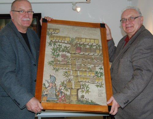 Abb.: Klaus Brodale (l.), Leiter des Geraer Stadtarchivs und Dr. Hans-Jürgen Noczenski präsentieren stolz den Stammbaum (Foto: Stadt Gera)