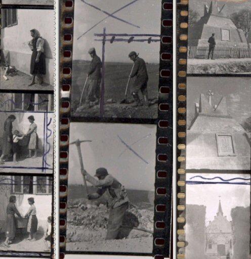 Drei Bildstreifen: links: Jüdisches Zwangsarbeiterlager bei Kurowice, Mitte: Zwangsarbeiter in Kurowice, rechts: Ukrainerdenkmal in Kurowice (Stadtarchiv Speyer)