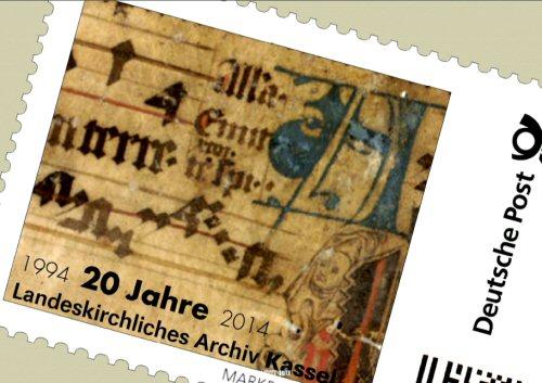 Passen zwanzig Jahre Landeskirchliches Archiv Kassel auf eine Briefmarke? Wir meinen ja! (Abb.: Lk-Archiv Kassel)