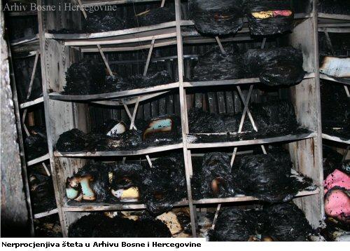 Nerprocjenjiva šteta u Arhivu Bosne i Hercegovine (Abb.: http://www.arhivbih.gov.ba/en/node/165)