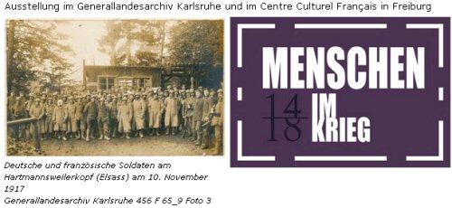 Deutsche und französische Soldaten am Hartmannsweilerkopf (Elsass) am 10. November 1917 (Generallandesarchiv Karlsruhe 456 F 65_9 Foto 3), Logo der Ausstellung 'Menschen im Krieg'