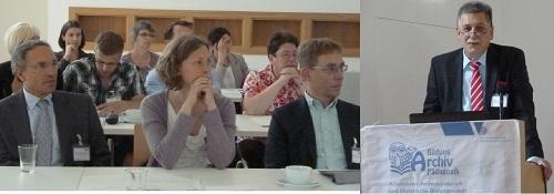 Abb.: Teilnehmende an der 28. Archivpädagogenkonferenz sowie Ltd. Archivdirektor Dr. Bernhard Post (Thüringisches Hauptstaatsarchiv Weimar) bei seiner Begrüßung (Foto: Susanne Freund, Potsdam)