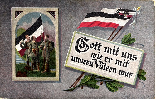 Abb.: Feldpostkarte aus dem Ersten Weltkrieg 'Gott mit uns wie er mit unsern Vätern war'