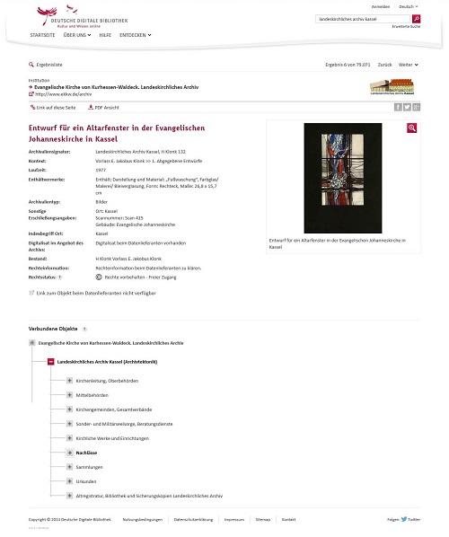 Abb.: Screenshot - Evangelische Kirche von Kurhessen-Waldeck / Landeskirchliches Archiv Kassel in der DDB