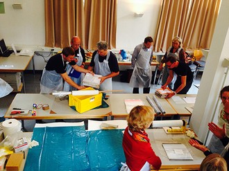 Abb.: Erste gemeinsame Übung des Karlsruher Notfallverbundes am 10. Oktober 2014 (Foto: Stadtarchiv Karlsruhe)