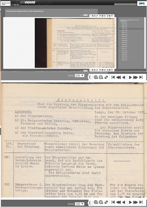 2 Vieweransichten (Collage): Beratungen des Bürgermeisters mit den Beigeordneten, 28. Oktober 1936, Stadtarchiv Lemgo B 1002