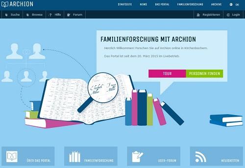 Bildschirmfoto des Online-Kirchenbuchportals