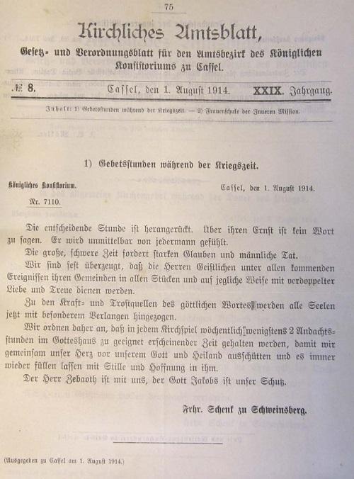 Kirchliches Amtsblatt Konsistorium Kassel, 1. August 1914, Gebetsstunden während der Kriegszeit (Landeskirchliches Archiv Kassel)