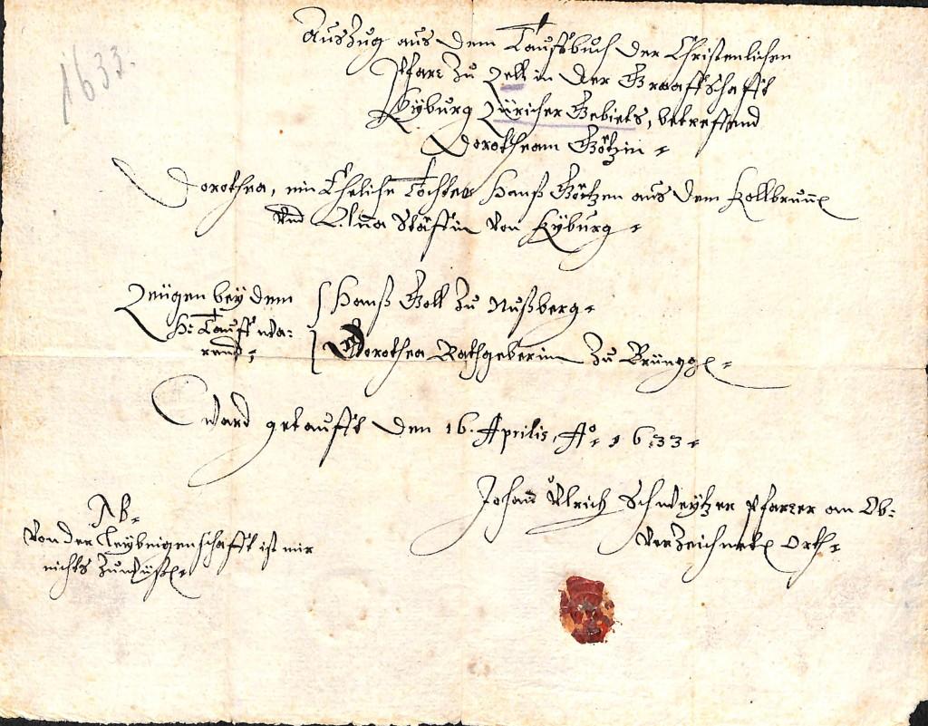 Heimsheim Taufbrief 1634