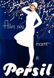 Plakat: Persil- 119 x 165 cm, von 1929. Die weisse Dame ist eine Werbefigur des rheinischen Malers Eugen Prinz-Schulte